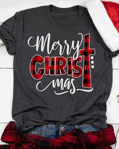 Women Casual Buffalo Plaid Merry Christmas T-Shirt