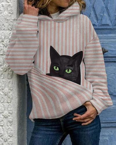 Women's  Cat Print Long Sleeve Pink Striped Hoodies