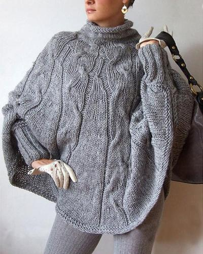 Turtleneck Knit Long Batwing Sleeves Irregular Oversized Cloak Pullover Sweater