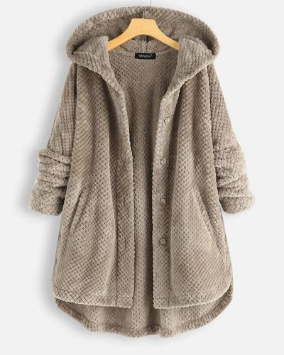 Women Fleece Irregular Long Sleeve Hooded Coats