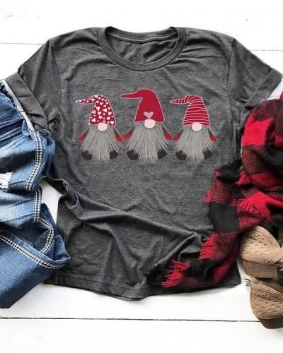 Valentine Love Heart Gnomies T-Shirt Tee