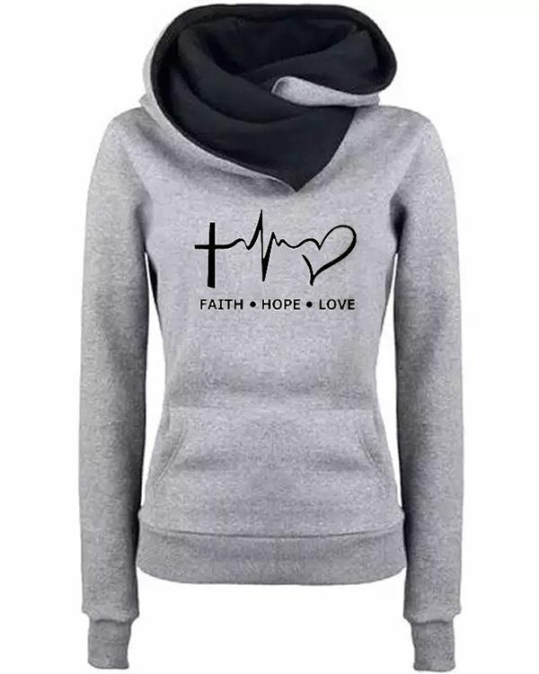 Women Letter Print Casual Long Sleeve Hoodies