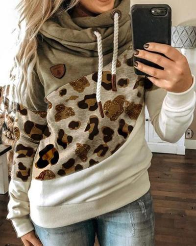 Leopard Printed Long Sleeve Color-Block Hoodie Sweatshirt