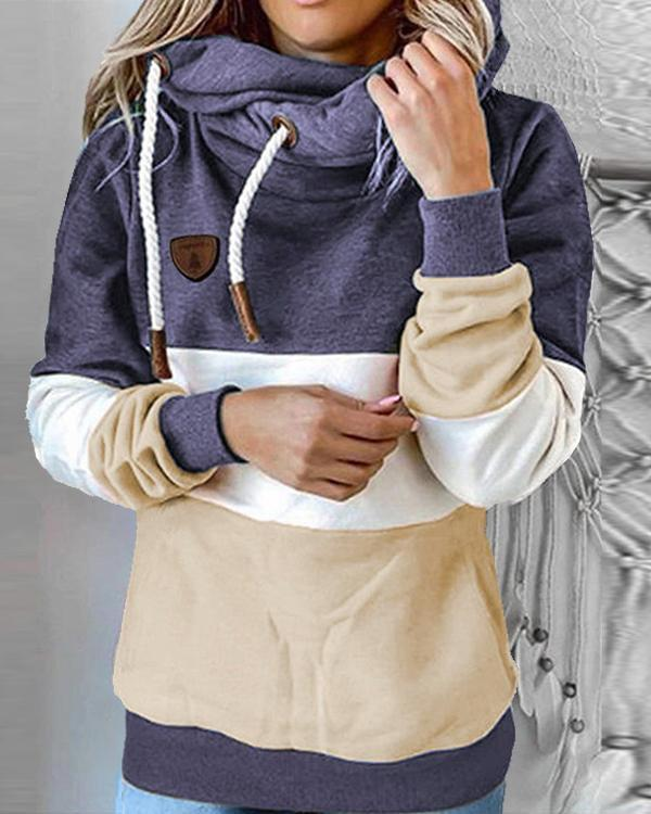 Color Block Shift Hoodie Casual Shirts & Tops