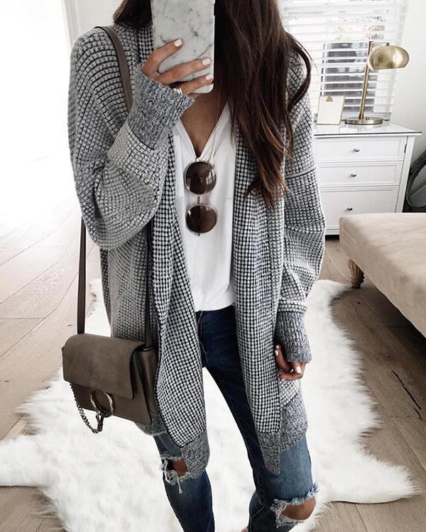 Women Casual Grid Outerwear Cotton Cardigan