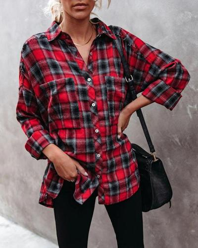 Women's Casual All Match Plaid Cotton Shirt