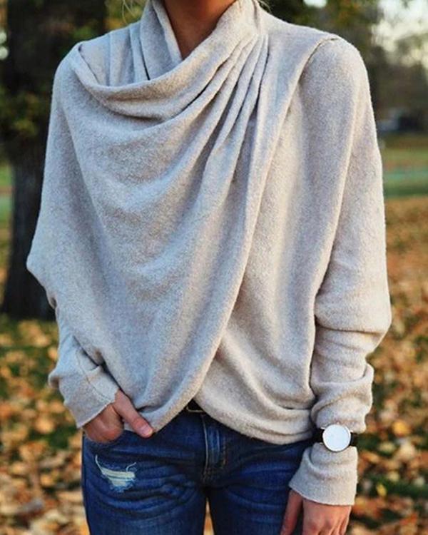 Women's Casual Asymmetric Cowl Neck Long Sleeve Knit Tops