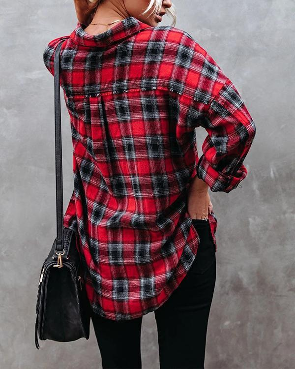 Women's Casual All Match Plaid Cotton Shirt