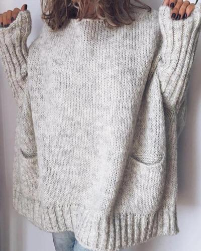 Casual Oversize Loose Fit Round Neck Sweater with Pockets