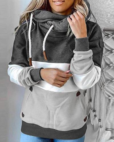 Shift Hoodie Casual Color-Block Shirts & Tops