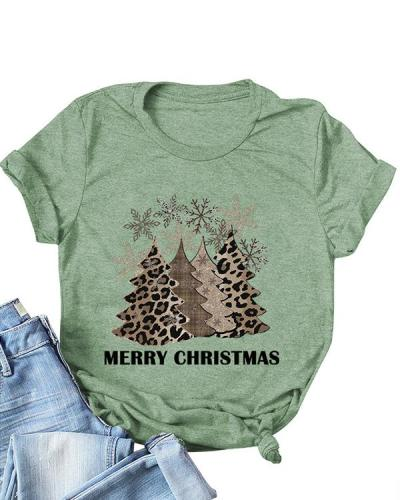 Christmas Tree Print O-Neck T-Shirt Tee