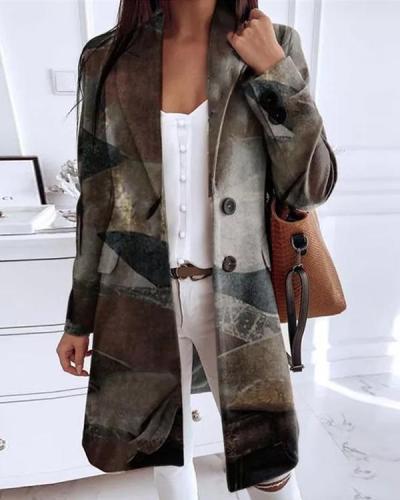 Long Sleeve Lapel Buttons Pockets Blazers Coats