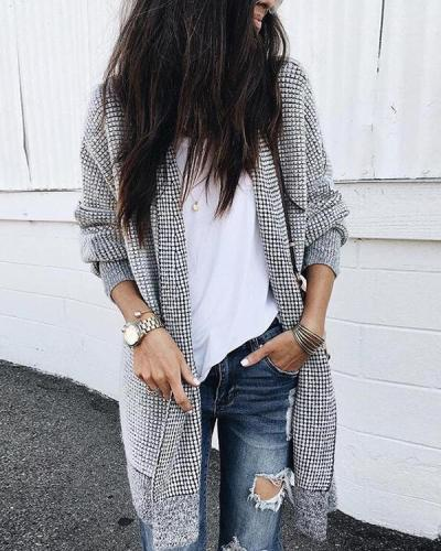 Women Casual Grid Outerwear Cotton Cardigan