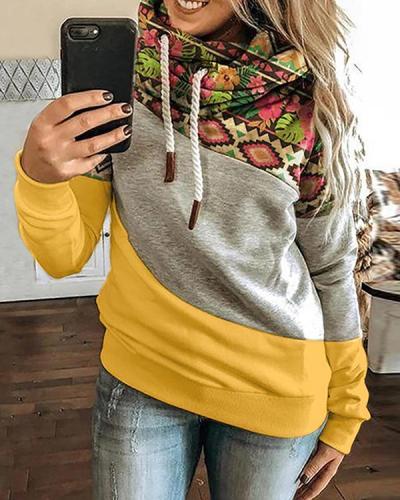 Color-Block Long Sleeve Solid Shift Sweatshirt