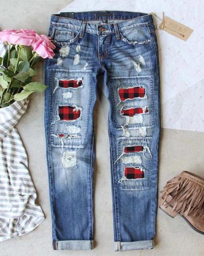 Blue Denim Printed Casual Pants