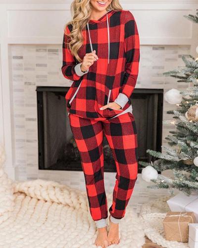 Casual Milk Fiber Christmas Plaid Loungewear Hoodie&Pants Set
