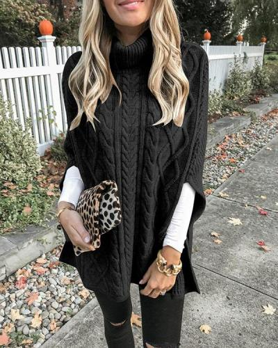 High Neck Loose Cable Knit Pattern Stitching Sweaters Tops