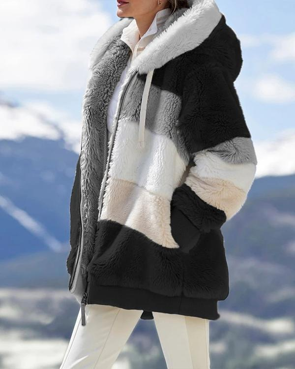 Contrasting Lamb Wool Padded Coat
