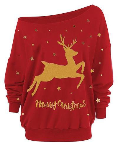 Women's Merry Christmas Elk Print Blouses&Tops