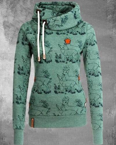 Animal Print Casual Cotton-blend Fleece Hoodie Sweatshirt