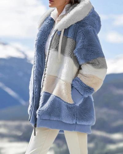 Contrasting Lamb Wool Padded Coat
