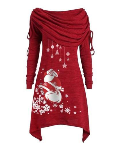 Casual Christmas Santa Claus Shawl Neck Irregular Long Blouses