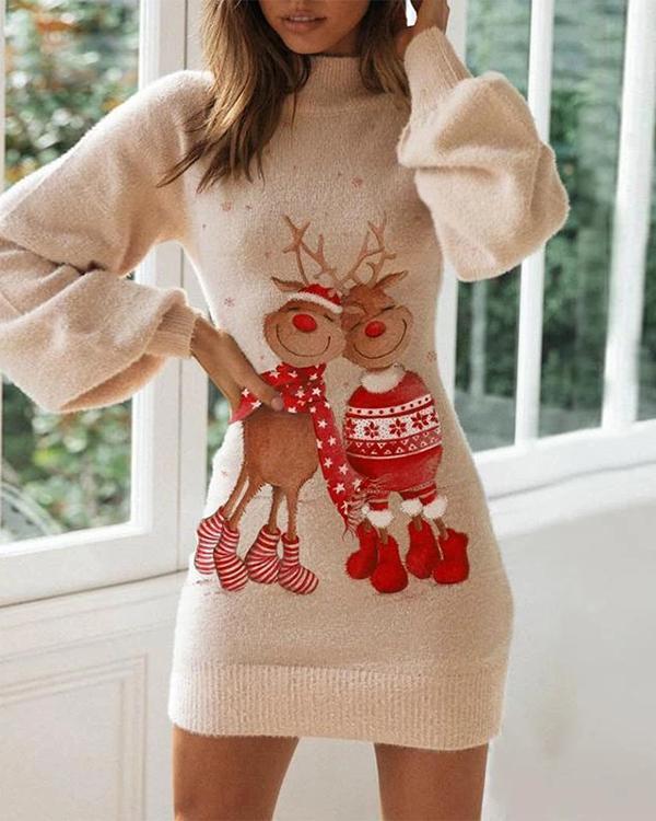 Ladies Casual  Christmas Print Tight Dress