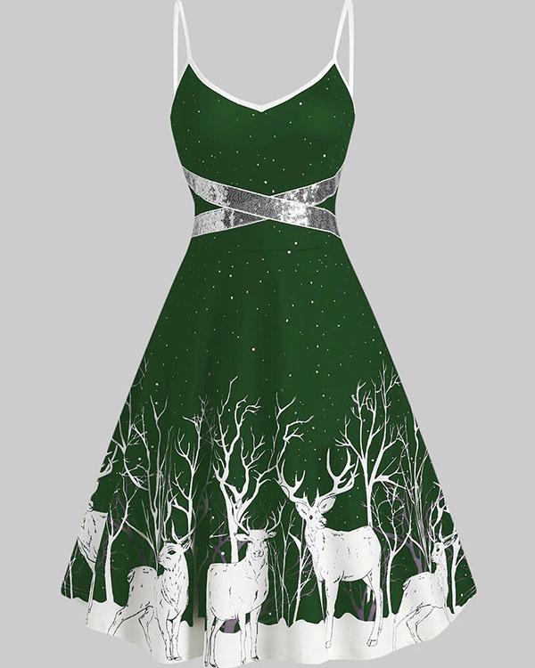 Elegant Christmas Elks Print A-line Sling Midi Dress
