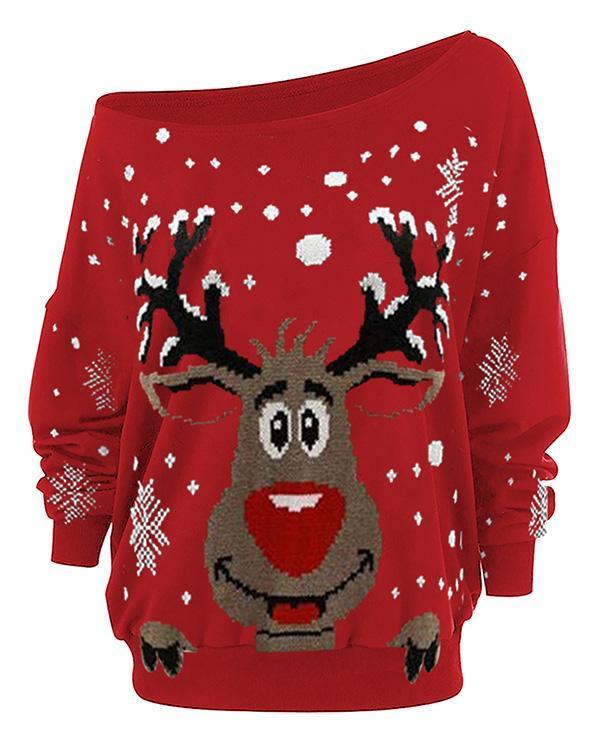 Women's Christmas Elk Print Blouses&Tops