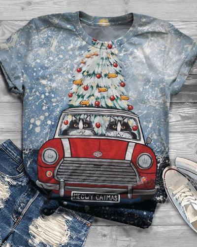 Women Print Casual Christmas Short Sleeve T-shirt