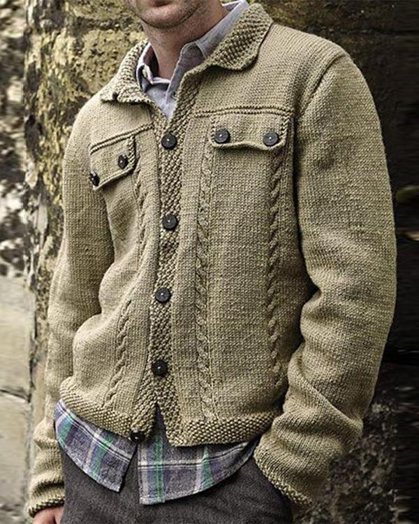 Men's Button Knitted Cardigan Jacket