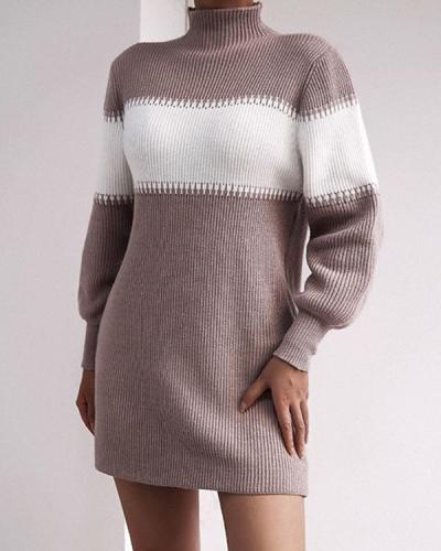 Women's Elegant Color Block Turtleneck Knitted Dress