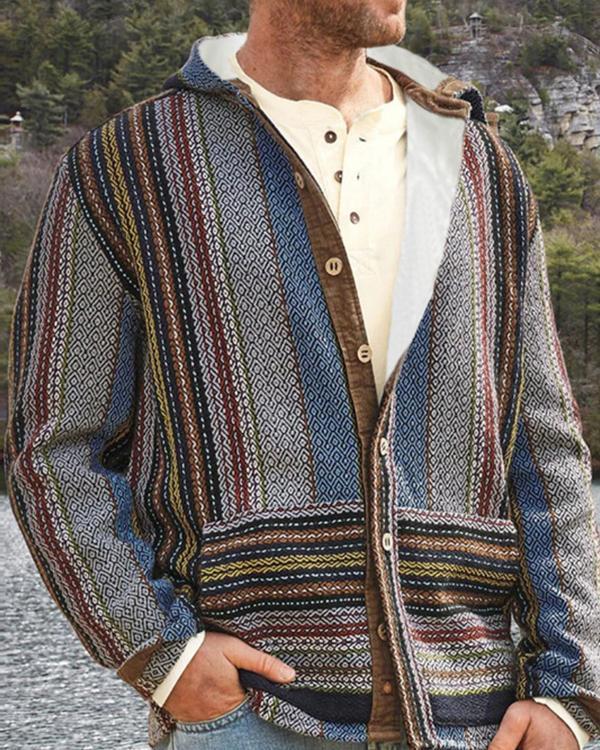 Geometric Standard Button European Winter Sweater