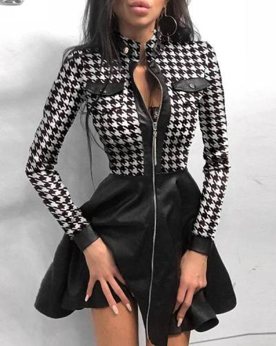 Plaid Above Knee Long Sleeve Regular A-Line Dress
