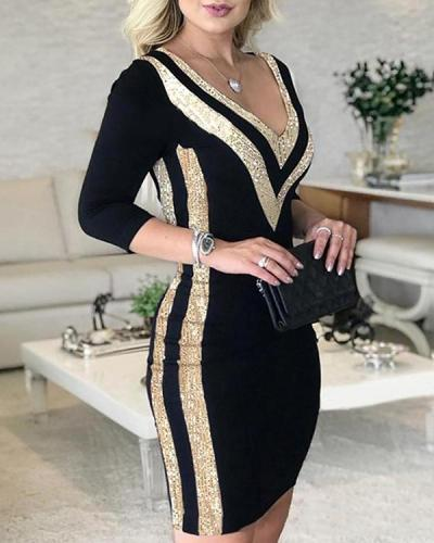 Sequins Long Sleeves Bodycon Above Knee Elegant Dresses