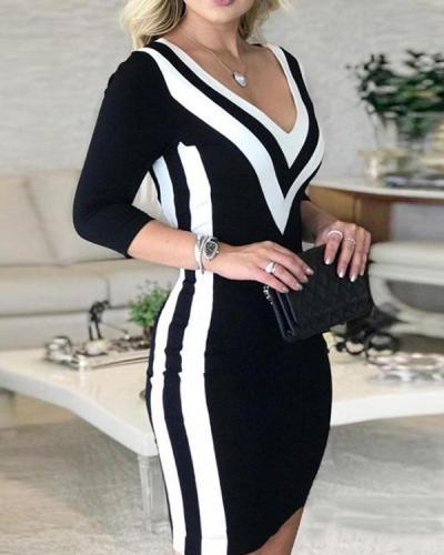 Color Block Long Sleeves Bodycon Above Knee Elegant Dresses