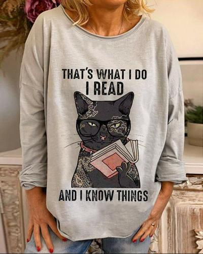Funny Cat Digital Printed Casual Blouses&T-shirts
