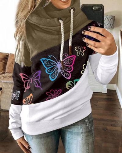 Hoodie Paneled Women Butterfly Long Sleeve Street Sweatshirt
