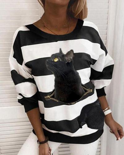 Striped Animal Print Crew-Neck Long Sleeves Sweatshirt