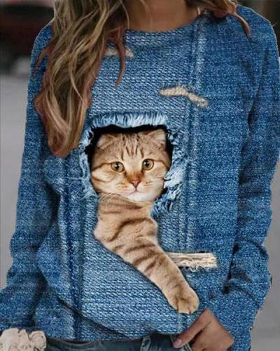 Women Cute Cat Print Casual O Neck Tops
