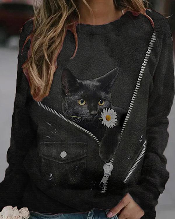 Women Cat Print Casual O Neck Long Sleeves Tops