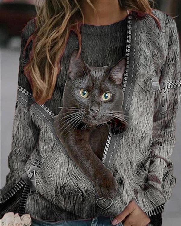 Women Cat Print Casual O Neck Long Sleeve Shirts