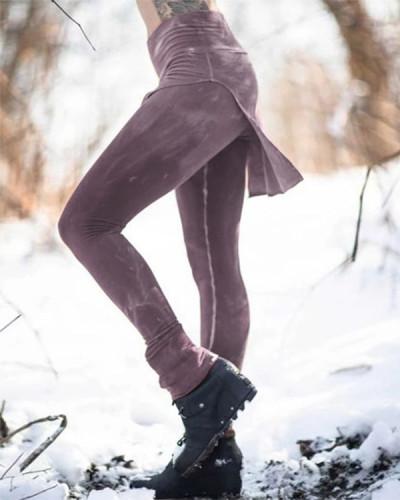 Women Vintage Solid Color Legging Pants