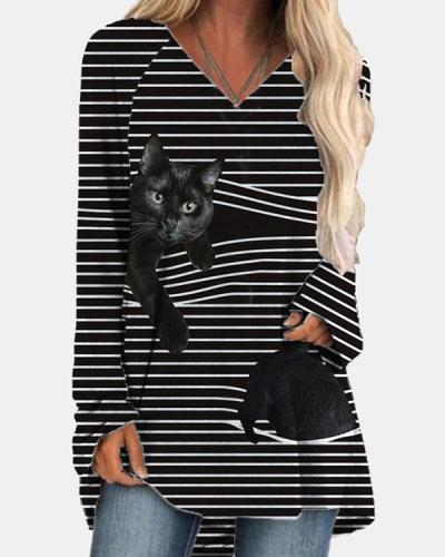 Cat Print Casual V Neck Stripe Shirts & Tops