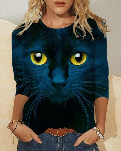 Cat Face Print Long Sleeve Round-neck Casual T-shirt