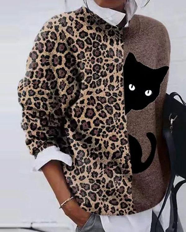 Women Cat Printed Long Sleeve Tops