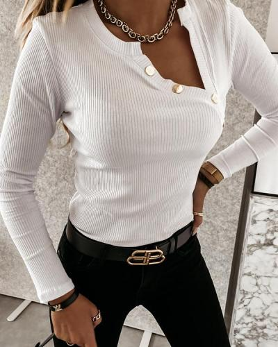 Casual Button Long Sleeve Top