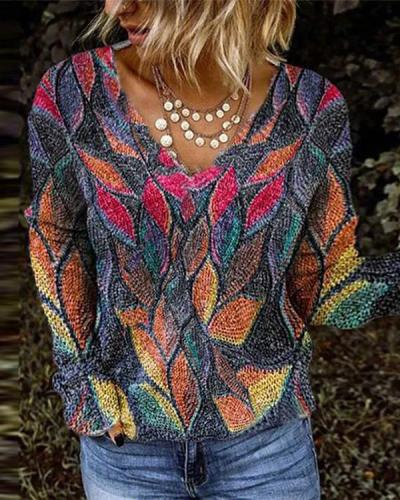 Women Colorful Leaves Print V Neck Long Sleeve Shirts&Tops