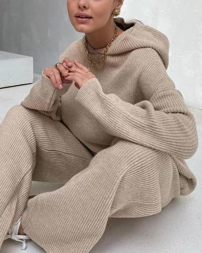Winter Casual Loose Fit Loungewear Knit Hoodie&Pants Set
