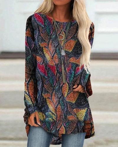 Women Vintage O Neck Leaves Print Long Sleeve Blouses